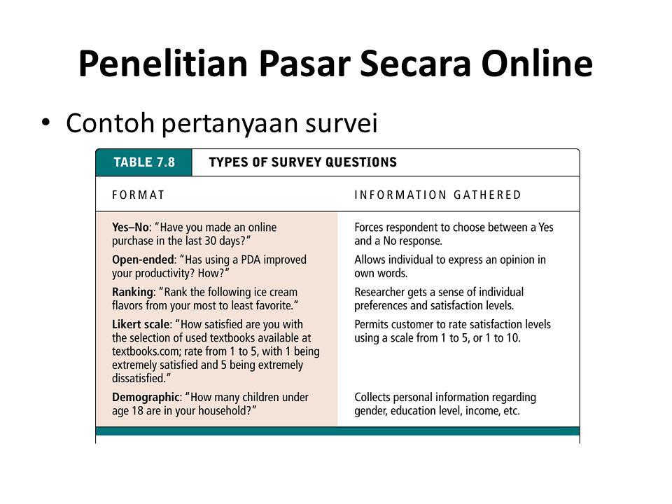 Penelitian Pasar Secara Online • Contoh pertanyaan survei