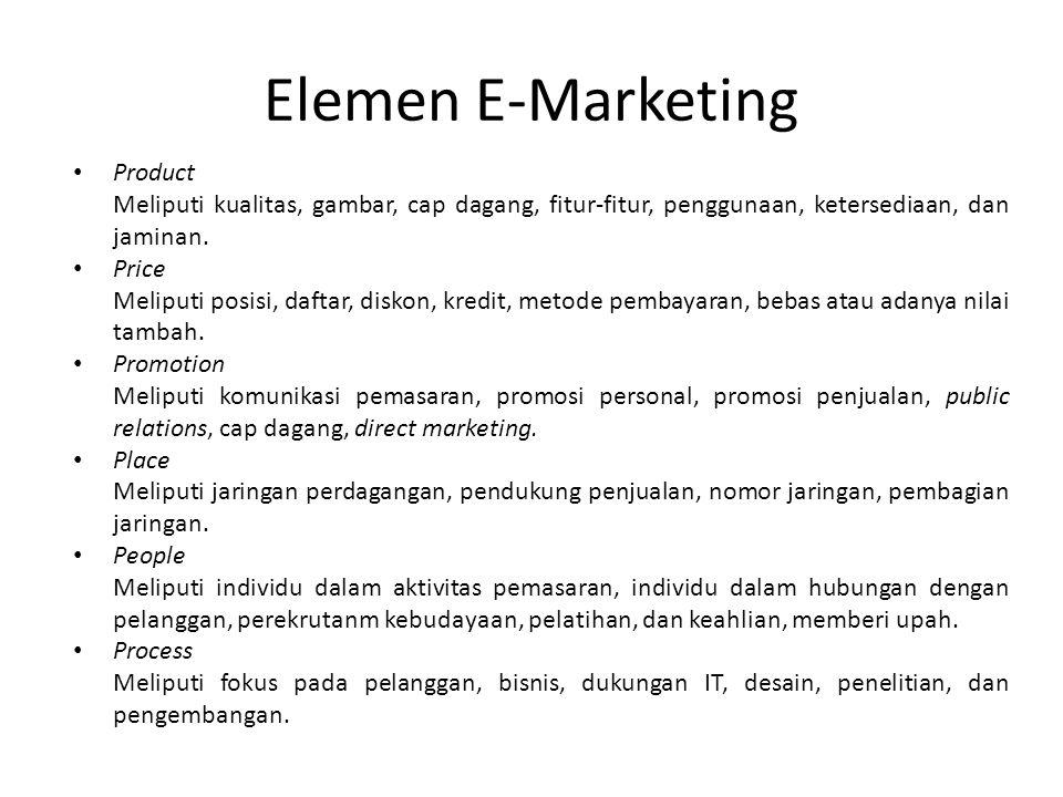 Elemen E-Marketing • Product Meliputi kualitas, gambar, cap dagang, fitur-fitur, penggunaan, ketersediaan, dan jaminan. • Price Meliputi posisi, dafta