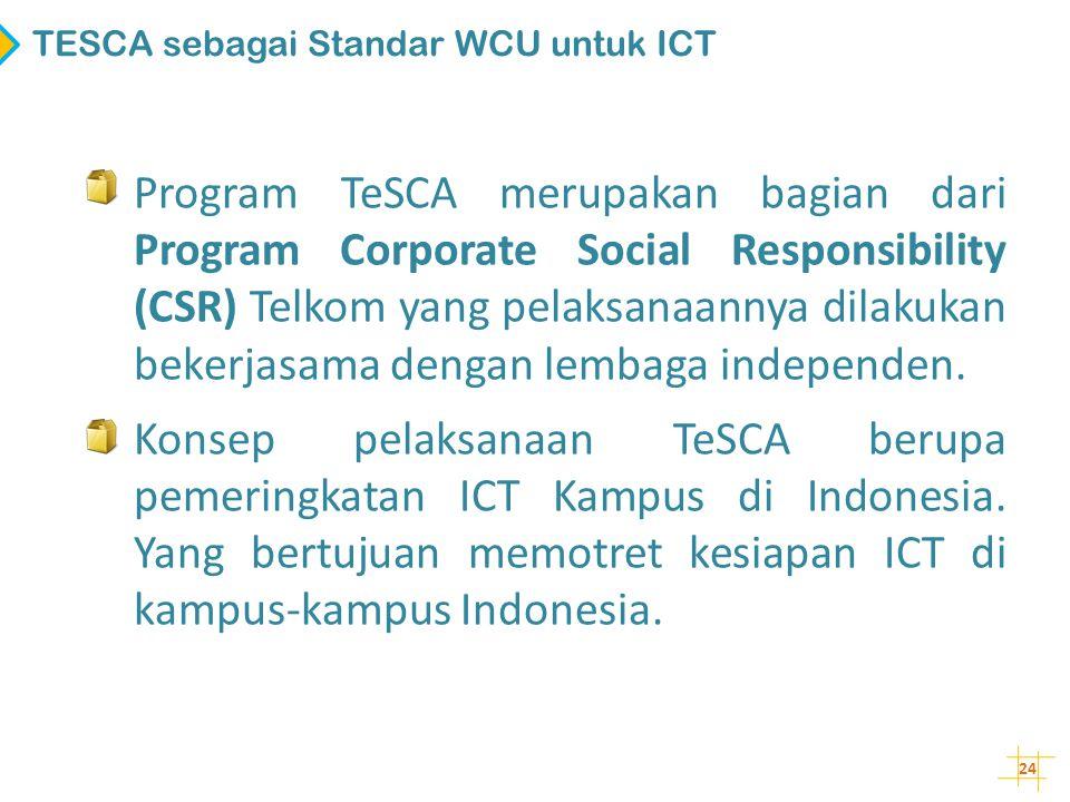 24 TESCA sebagai Standar WCU untuk ICT • Program TeSCA merupakan bagian dari Program Corporate Social Responsibility (CSR) Telkom yang pelaksanaannya