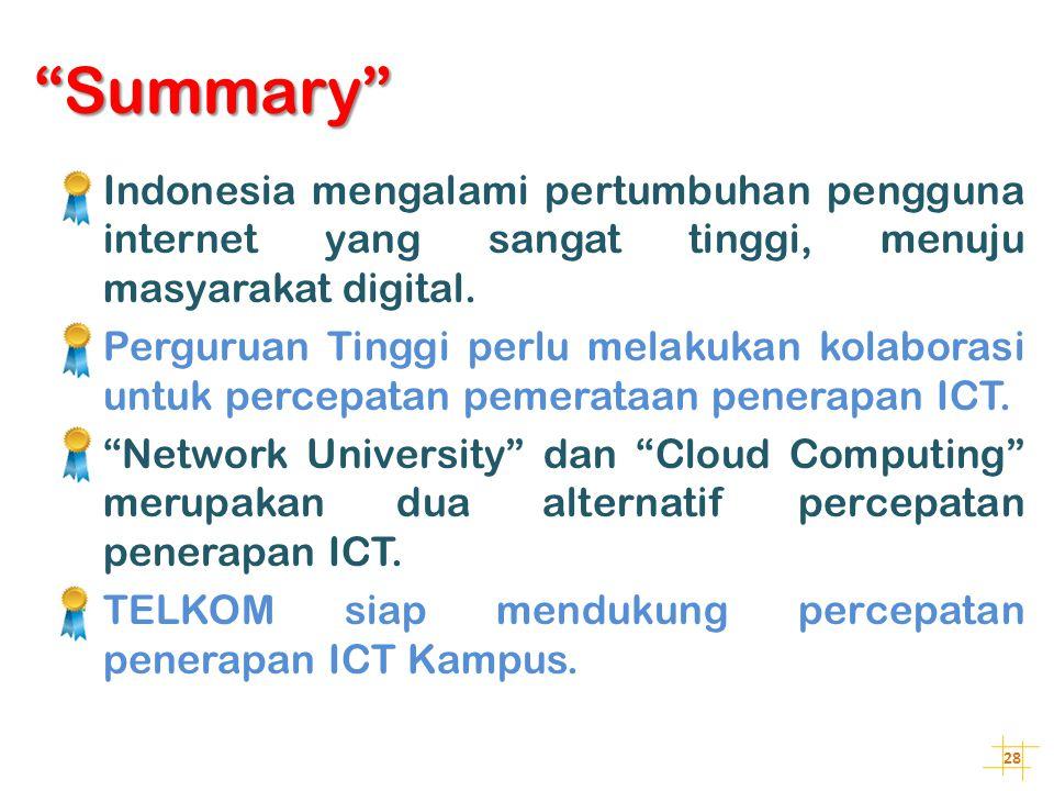 "28 ""Summary""  Indonesia mengalami pertumbuhan pengguna internet yang sangat tinggi, menuju masyarakat digital.  Perguruan Tinggi perlu melakukan kol"