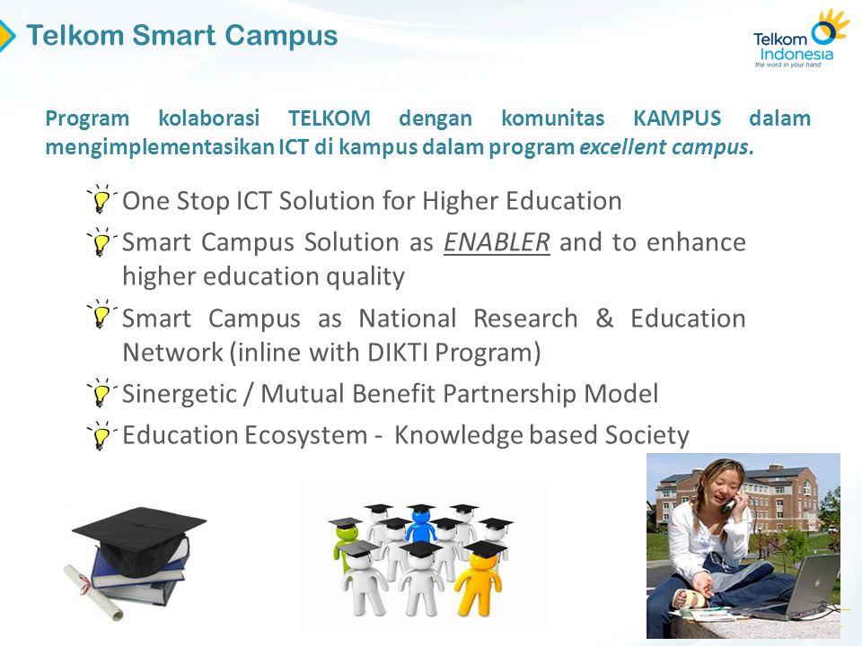 33 Program kolaborasi TELKOM dengan komunitas KAMPUS dalam mengimplementasikan ICT di kampus dalam program excellent campus. Telkom Smart Campus • One