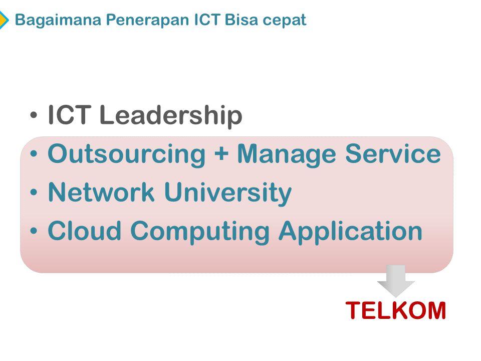 • ICT Leadership • Outsourcing + Manage Service • Network University • Cloud Computing Application Bagaimana Penerapan ICT Bisa cepat TELKOM