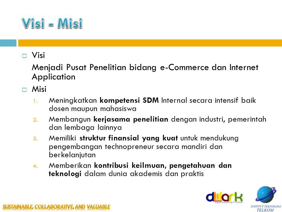  Visi Menjadi Pusat Penelitian bidang e-Commerce dan Internet Application  Misi 1.