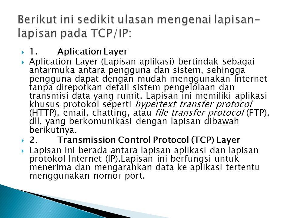  1. Aplication Layer  Aplication Layer (Lapisan aplikasi) bertindak sebagai antarmuka antara pengguna dan sistem, sehingga pengguna dapat dengan mud