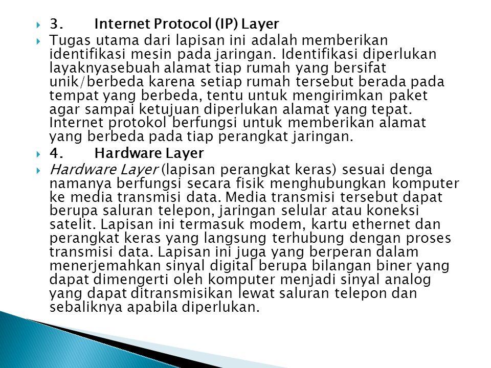  3. Internet Protocol (IP) Layer  Tugas utama dari lapisan ini adalah memberikan identifikasi mesin pada jaringan. Identifikasi diperlukan layaknyas