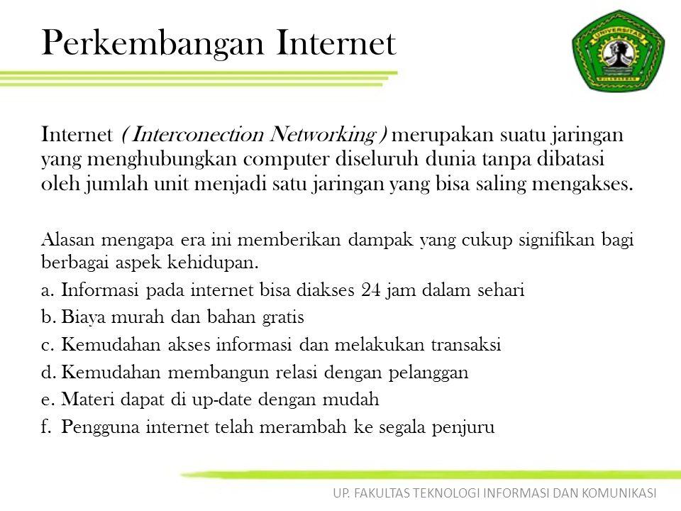 Perkembangan Internet Internet ( Interconection Networking ) merupakan suatu jaringan yang menghubungkan computer diseluruh dunia tanpa dibatasi oleh