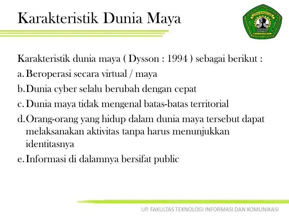 Karakteristik Dunia Maya Karakteristik dunia maya ( Dysson : 1994 ) sebagai berikut : a.Beroperasi secara virtual / maya b.Dunia cyber selalu berubah