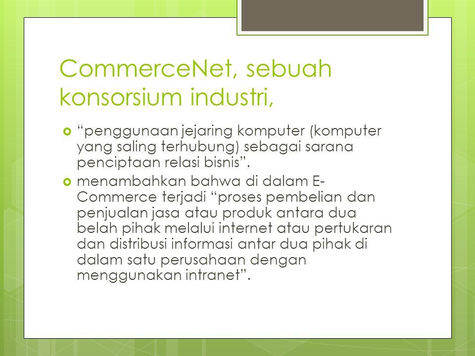 CommerceNet, sebuah konsorsium industri,  penggunaan jejaring komputer (komputer yang saling terhubung) sebagai sarana penciptaan relasi bisnis .