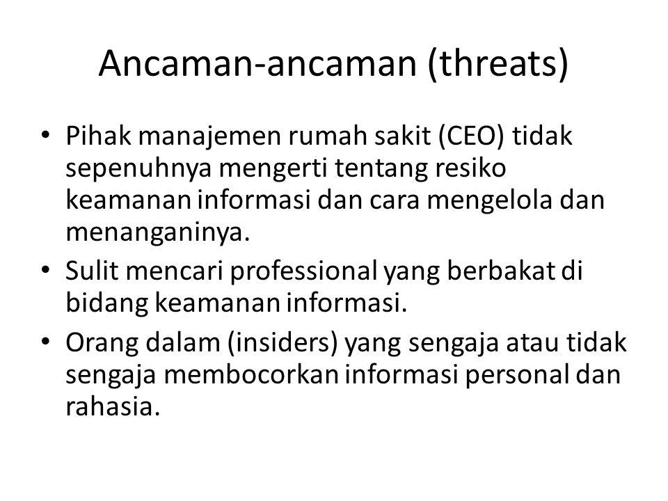 Ancaman-ancaman (threats) • Pihak manajemen rumah sakit (CEO) tidak sepenuhnya mengerti tentang resiko keamanan informasi dan cara mengelola dan menan