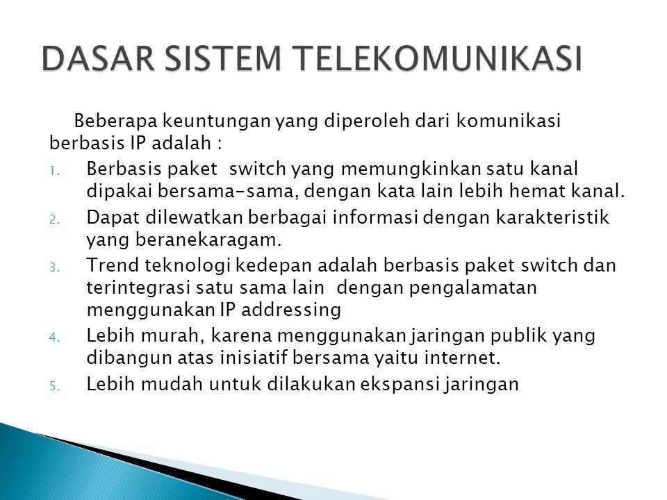 Beberapa keuntungan yang diperoleh dari komunikasi berbasis IP adalah : 1. Berbasis paket switch yang memungkinkan satu kanal dipakai bersama-sama, de