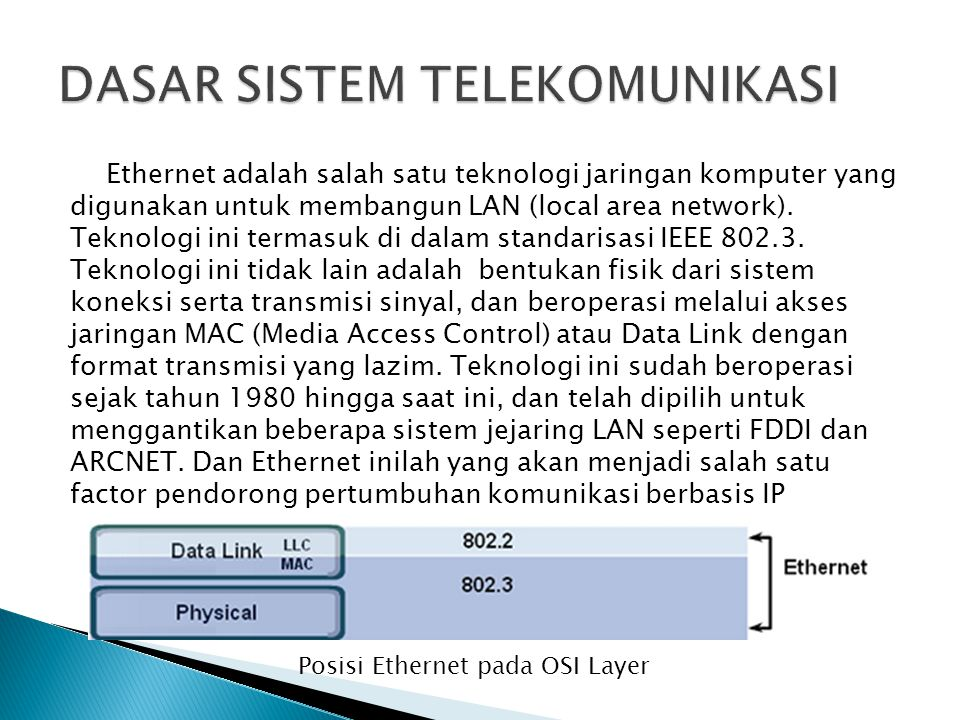 Ethernet adalah salah satu teknologi jaringan komputer yang digunakan untuk membangun LAN (local area network). Teknologi ini termasuk di dalam standa
