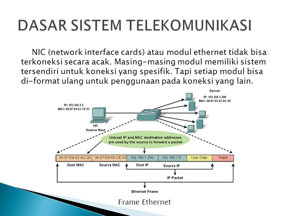 NIC (network interface cards) atau modul ethernet tidak bisa terkoneksi secara acak. Masing-masing modul memiliki sistem tersendiri untuk koneksi yang