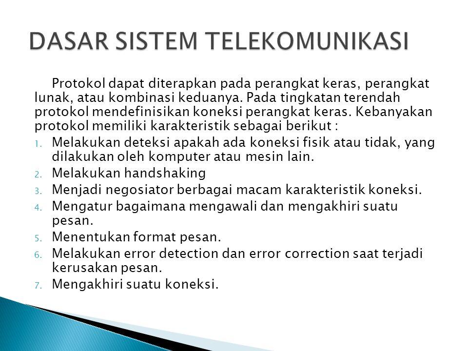 Protokol dapat diterapkan pada perangkat keras, perangkat lunak, atau kombinasi keduanya. Pada tingkatan terendah protokol mendefinisikan koneksi pera
