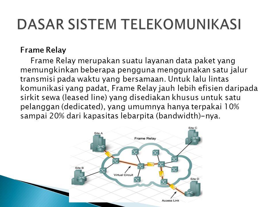Frame Relay Frame Relay merupakan suatu layanan data paket yang memungkinkan beberapa pengguna menggunakan satu jalur transmisi pada waktu yang bersam