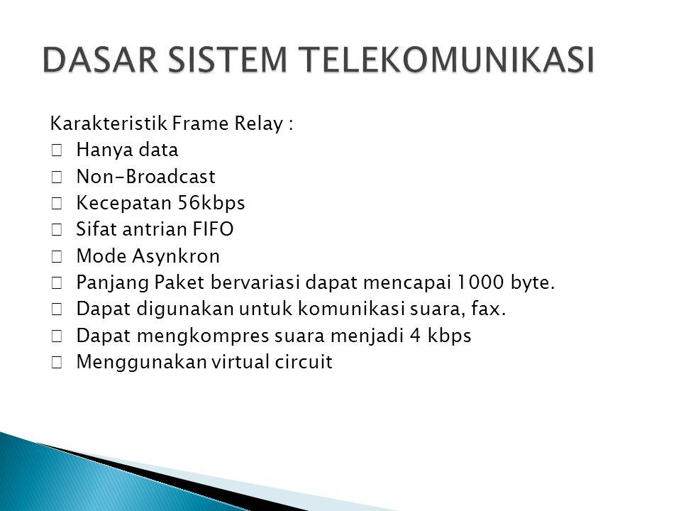 Karakteristik Frame Relay :  Hanya data  Non-Broadcast  Kecepatan 56kbps  Sifat antrian FIFO  Mode Asynkron  Panjang Paket bervariasi dapat menc