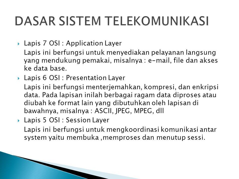  Lapis 7 OSI : Application Layer Lapis ini berfungsi untuk menyediakan pelayanan langsung yang mendukung pemakai, misalnya : e-mail, file dan akses k
