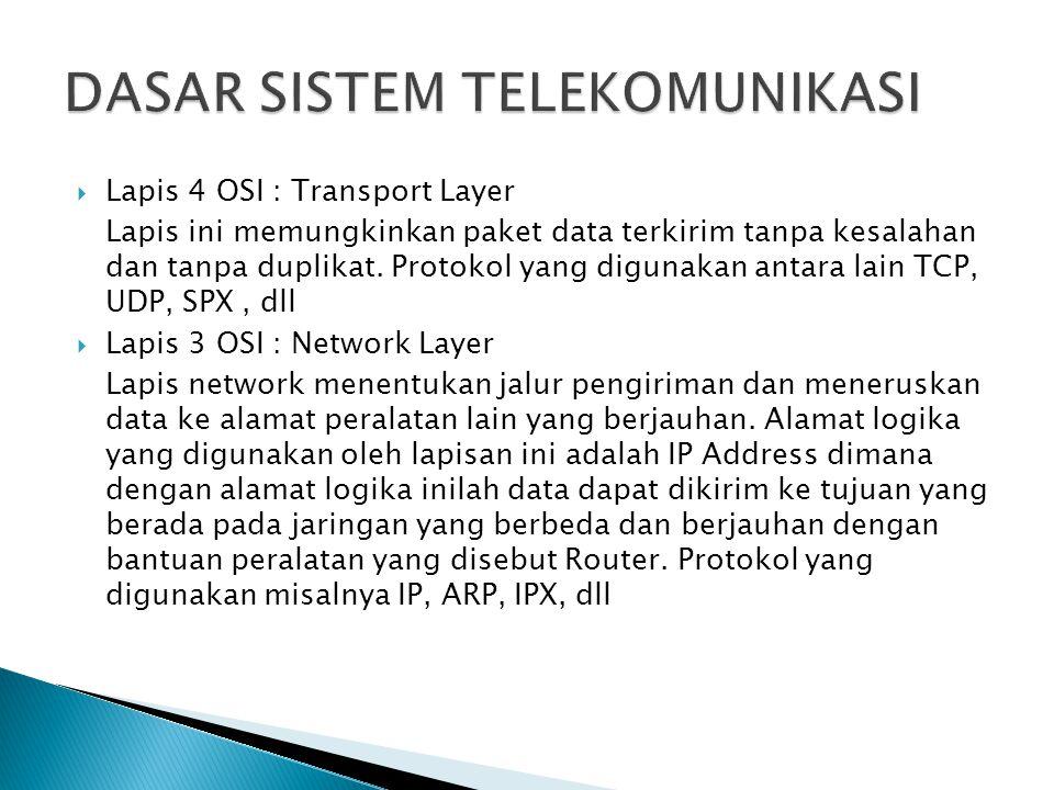  Lapis 4 OSI : Transport Layer Lapis ini memungkinkan paket data terkirim tanpa kesalahan dan tanpa duplikat. Protokol yang digunakan antara lain TCP