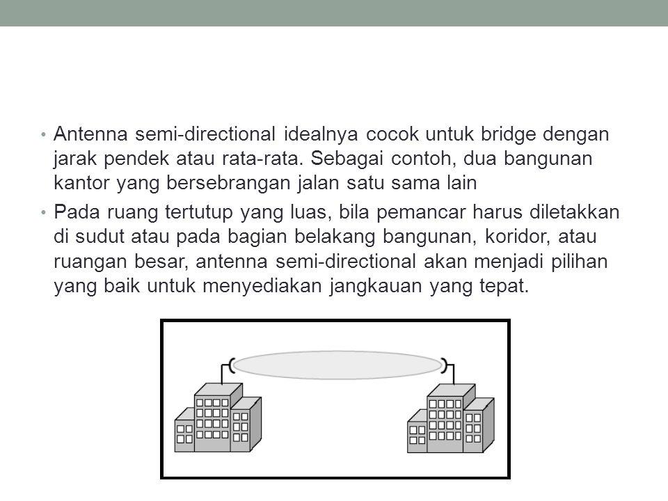 • Antenna semi-directional idealnya cocok untuk bridge dengan jarak pendek atau rata-rata. Sebagai contoh, dua bangunan kantor yang bersebrangan jalan