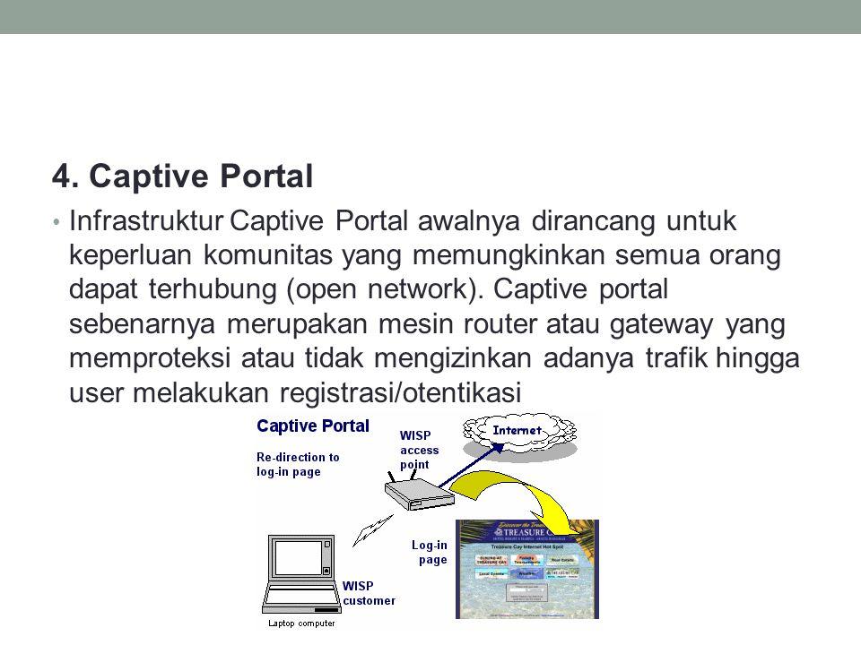 4. Captive Portal • Infrastruktur Captive Portal awalnya dirancang untuk keperluan komunitas yang memungkinkan semua orang dapat terhubung (open netwo