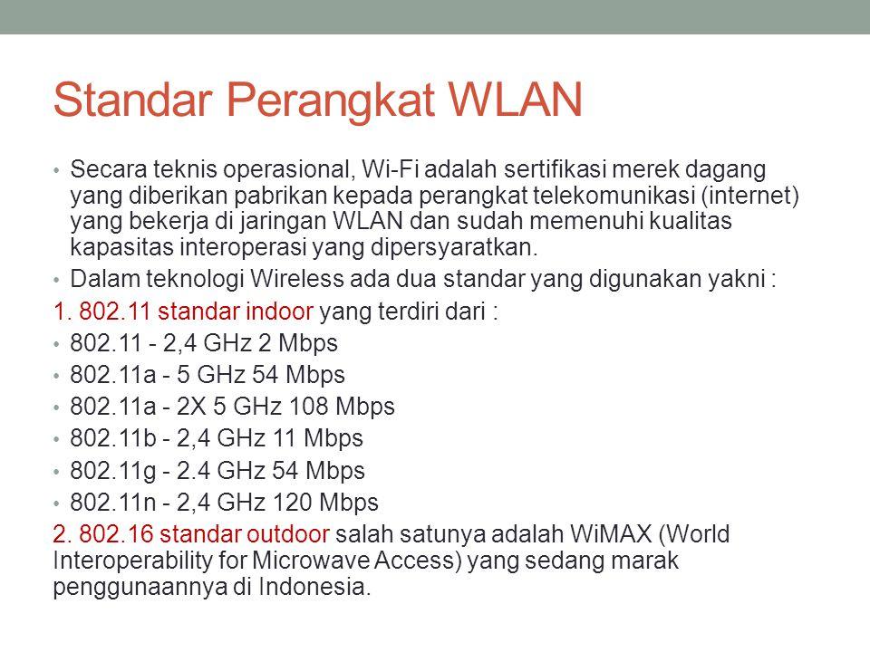 Standar Perangkat WLAN • Secara teknis operasional, Wi-Fi adalah sertifikasi merek dagang yang diberikan pabrikan kepada perangkat telekomunikasi (int