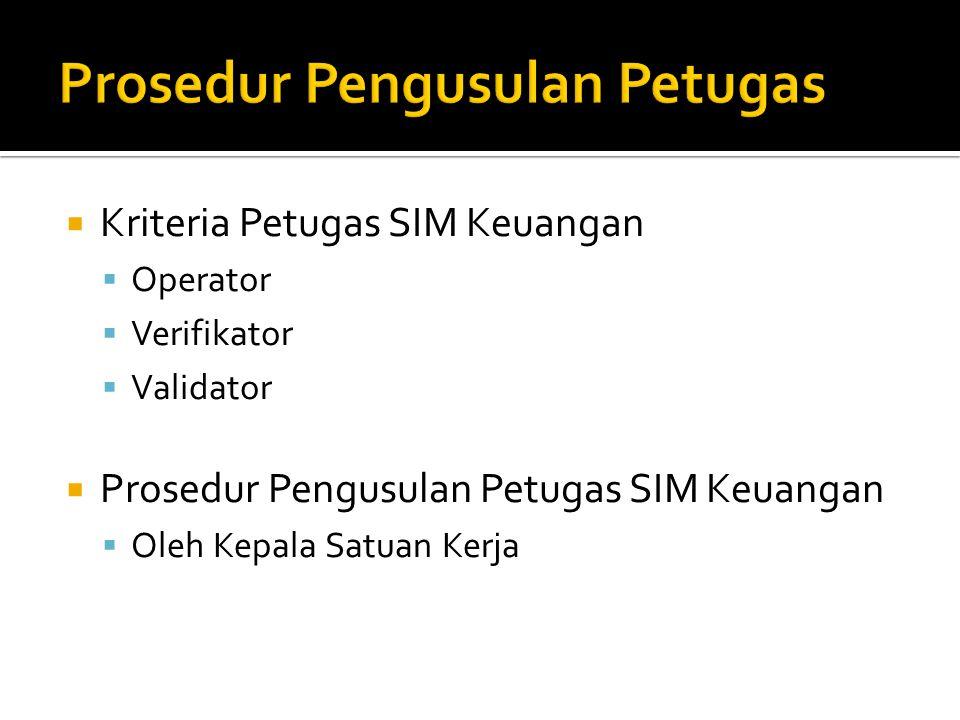  Kriteria Petugas SIM Keuangan  Operator  Verifikator  Validator  Prosedur Pengusulan Petugas SIM Keuangan  Oleh Kepala Satuan Kerja