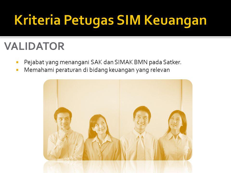  Pejabat yang menangani SAK dan SIMAK BMN pada Satker.