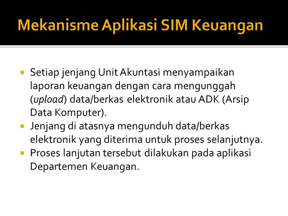  Setiap jenjang Unit Akuntasi menyampaikan laporan keuangan dengan cara mengunggah (upload) data/berkas elektronik atau ADK (Arsip Data Komputer).