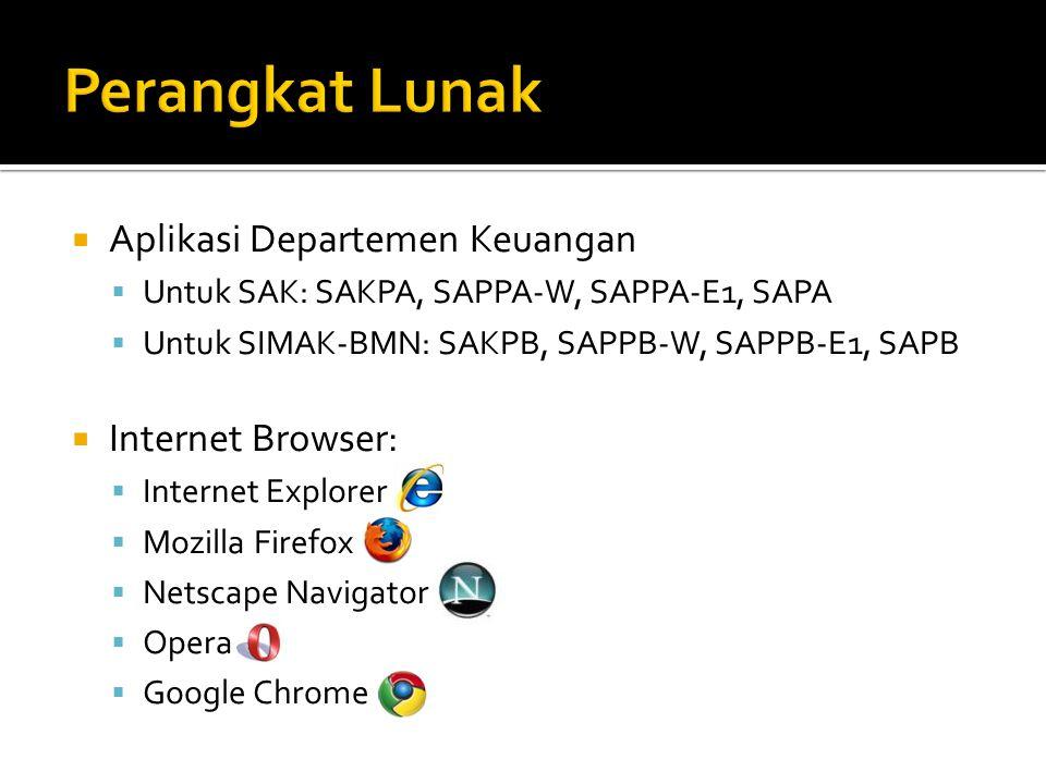  Aplikasi Departemen Keuangan  Untuk SAK: SAKPA, SAPPA-W, SAPPA-E1, SAPA  Untuk SIMAK-BMN: SAKPB, SAPPB-W, SAPPB-E1, SAPB  Internet Browser:  Internet Explorer  Mozilla Firefox  Netscape Navigator  Opera  Google Chrome