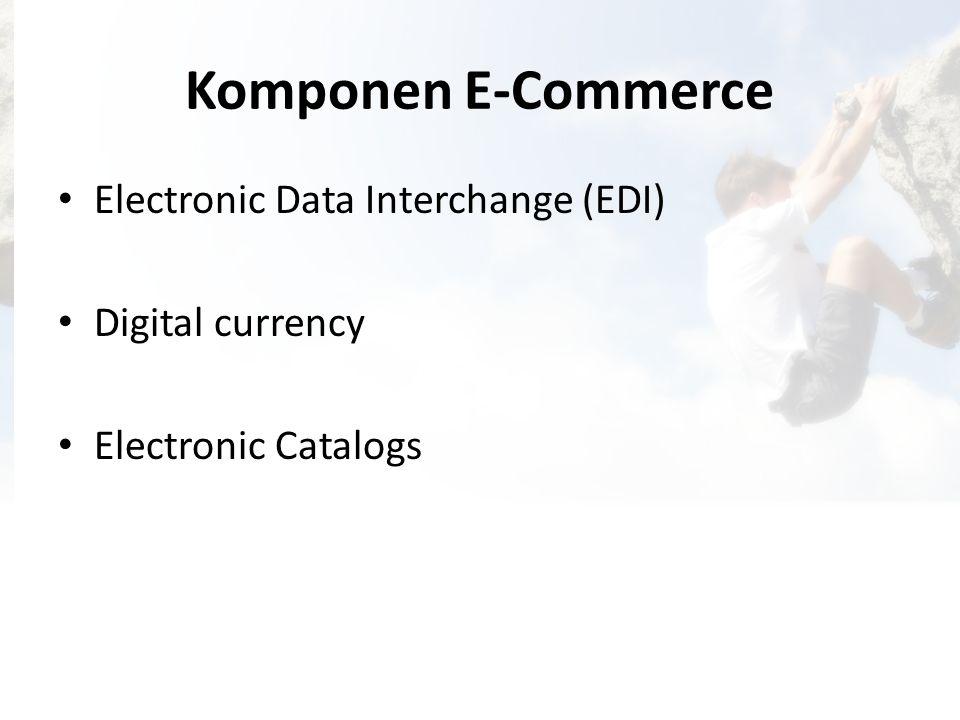 Komponen E-Commerce • Electronic Data Interchange (EDI) • Digital currency • Electronic Catalogs