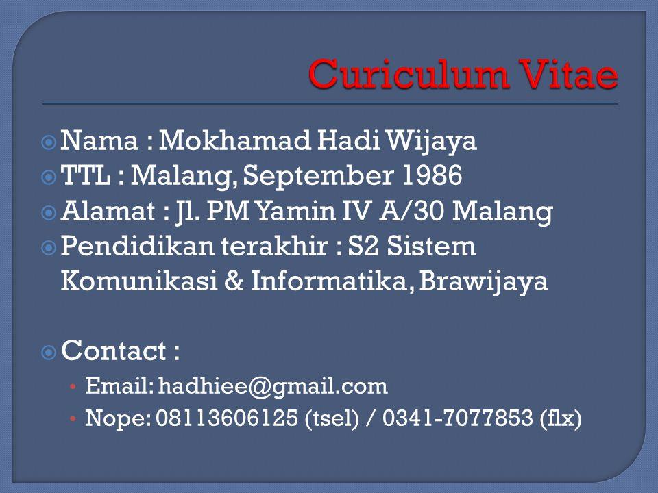  Nama : Mokhamad Hadi Wijaya  TTL : Malang, September 1986  Alamat : Jl.
