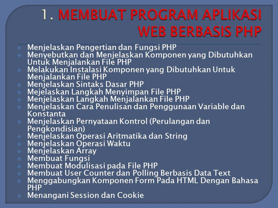 Menjelaskan Pengertian dan Fungsi PHP  Menyebutkan dan Menjelaskan Komponen yang Dibutuhkan Untuk Menjalankan File PHP  Melakukan Instalasi Komponen yang Dibutuhkan Untuk Menjalankan File PHP  Menjelaskan Sintaks Dasar PHP  Mejelaskan Langkah Menyimpan File PHP  Menjelaskan Langkah Menjalankan File PHP  Menjelaskan Cara Penulisan dan Penggunaan Variable dan Konstanta  Menjelaskan Pernyataan Kontrol (Perulangan dan Pengkondisian)  Menjelaskan Operasi Aritmatika dan String  Menjelaskan Operasi Waktu  Menjelaskan Array  Membuat Fungsi  Membuat Modulisasi pada File PHP  Membuat User Counter dan Polling Berbasis Data Text  Menggabungkan Komponen Form Pada HTML Dengan Bahasa PHP  Menangani Session dan Cookie