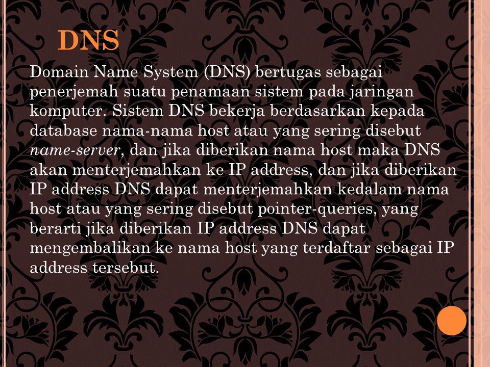 Domain Name System (DNS) bertugas sebagai penerjemah suatu penamaan sistem pada jaringan komputer.