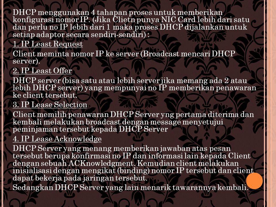 DHCP menggunakan 4 tahapan proses untuk memberikan konfigurasi nomor IP.