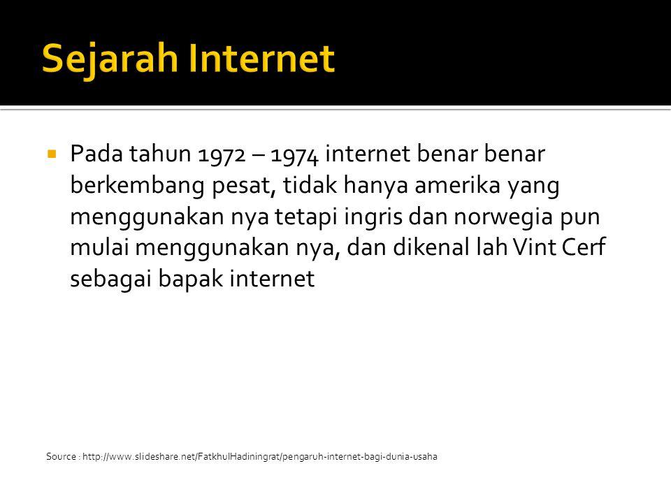  Pada tahun 1972 – 1974 internet benar benar berkembang pesat, tidak hanya amerika yang menggunakan nya tetapi ingris dan norwegia pun mulai menggunakan nya, dan dikenal lah Vint Cerf sebagai bapak internet Source : http://www.slideshare.net/FatkhulHadiningrat/pengaruh-internet-bagi-dunia-usaha