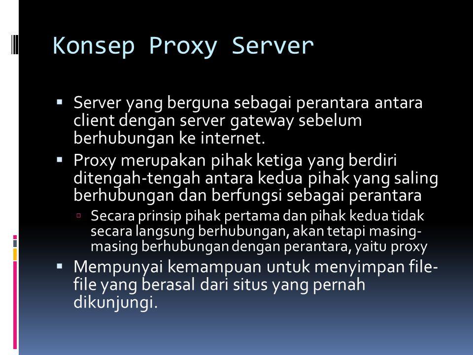 Konsep Proxy Server  Server yang berguna sebagai perantara antara client dengan server gateway sebelum berhubungan ke internet.  Proxy merupakan pih