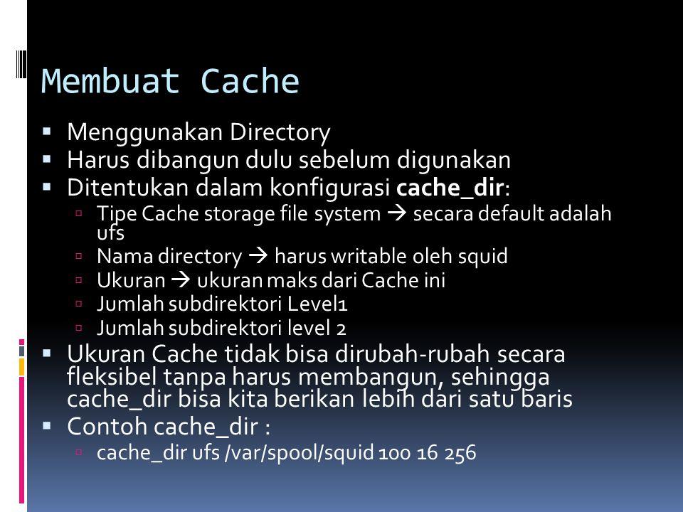 Membuat Cache  Menggunakan Directory  Harus dibangun dulu sebelum digunakan  Ditentukan dalam konfigurasi cache_dir:  Tipe Cache storage file syst