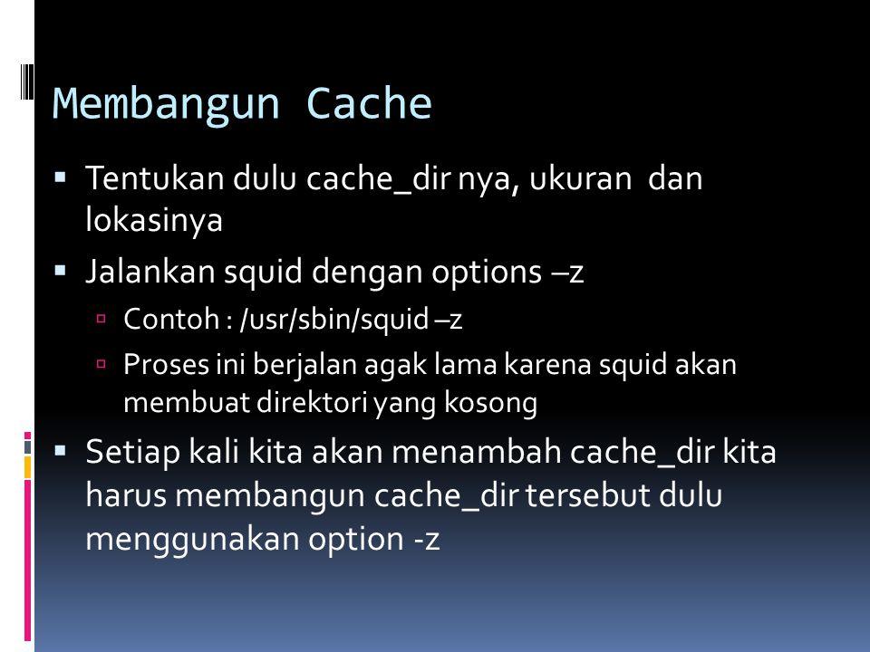 Membangun Cache  Tentukan dulu cache_dir nya, ukuran dan lokasinya  Jalankan squid dengan options –z  Contoh : /usr/sbin/squid –z  Proses ini berj