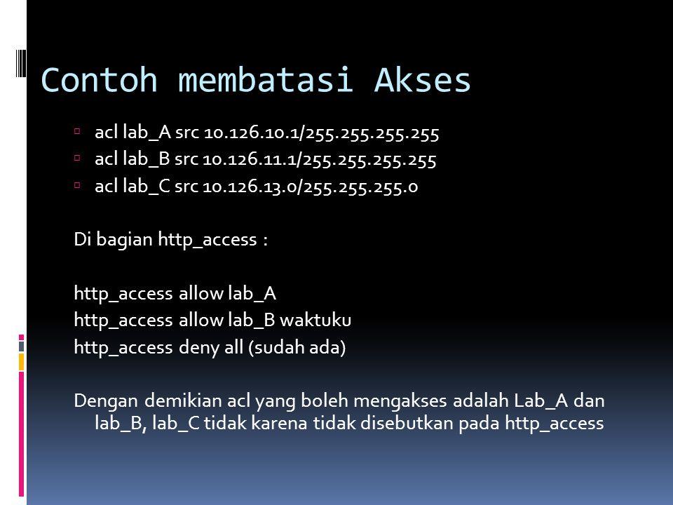 Contoh membatasi Akses  acl lab_A src 10.126.10.1/255.255.255.255  acl lab_B src 10.126.11.1/255.255.255.255  acl lab_C src 10.126.13.0/255.255.255