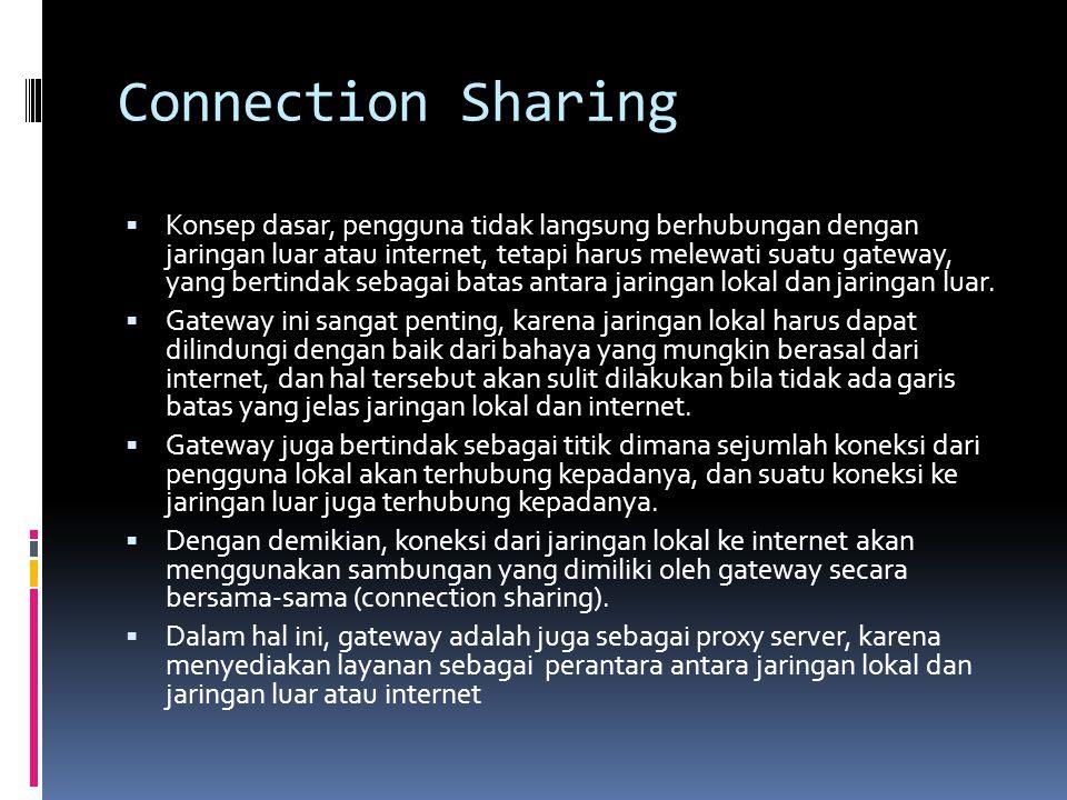 Connection Sharing  Konsep dasar, pengguna tidak langsung berhubungan dengan jaringan luar atau internet, tetapi harus melewati suatu gateway, yang b