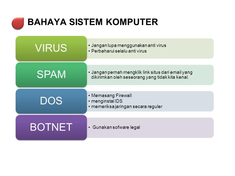 BAHAYA SISTEM KOMPUTER •Jangan lupa menggunakan anti virus •Perbaharui selalu anti virus VIRUS •Jangan pernah mengklik link situs dari email yang diki