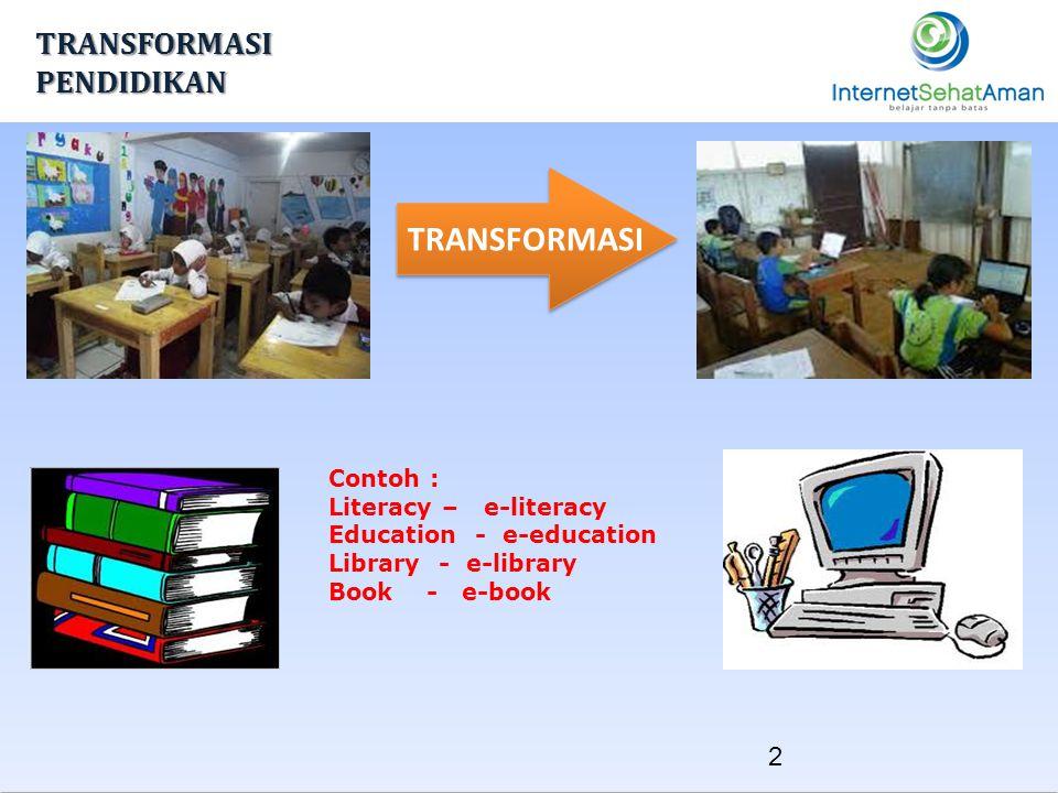 TRANSFORMASI Contoh : Literacy – e-literacy Education - e-education Library - e-library Book - e-book 2 TRANSFORMASI PENDIDIKAN