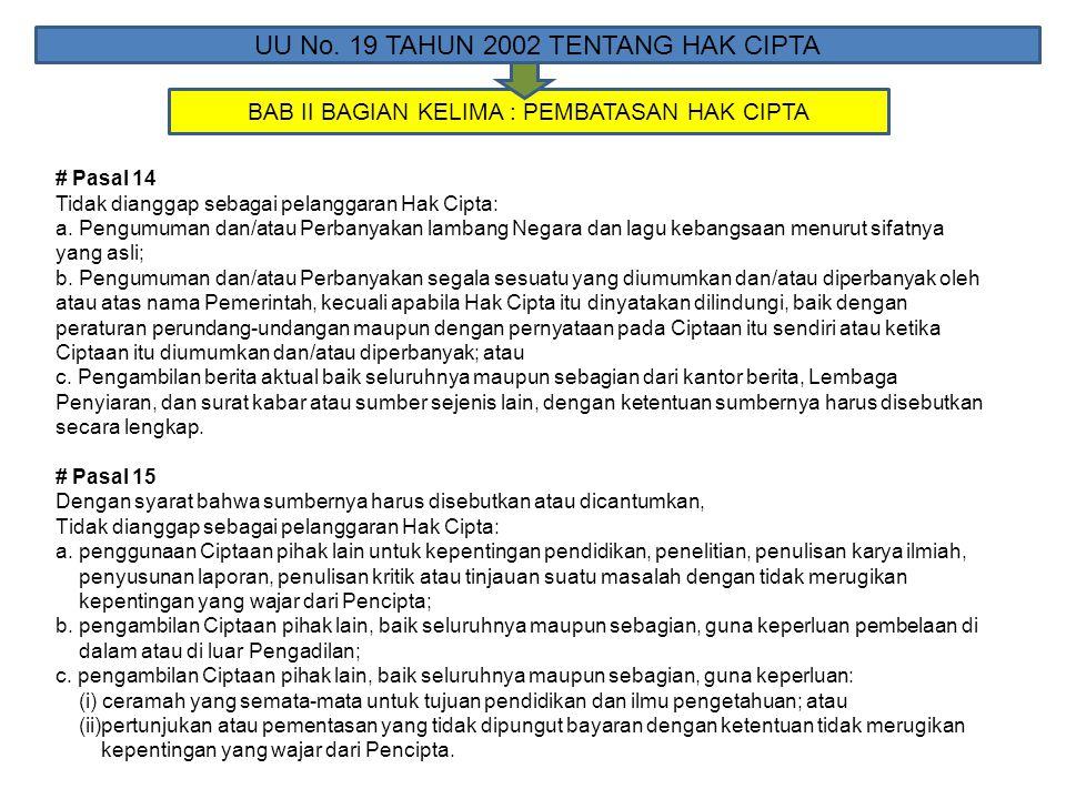 BAB II BAGIAN KELIMA : PEMBATASAN HAK CIPTA UU No. 19 TAHUN 2002 TENTANG HAK CIPTA # Pasal 14 Tidak dianggap sebagai pelanggaran Hak Cipta: a. Pengumu