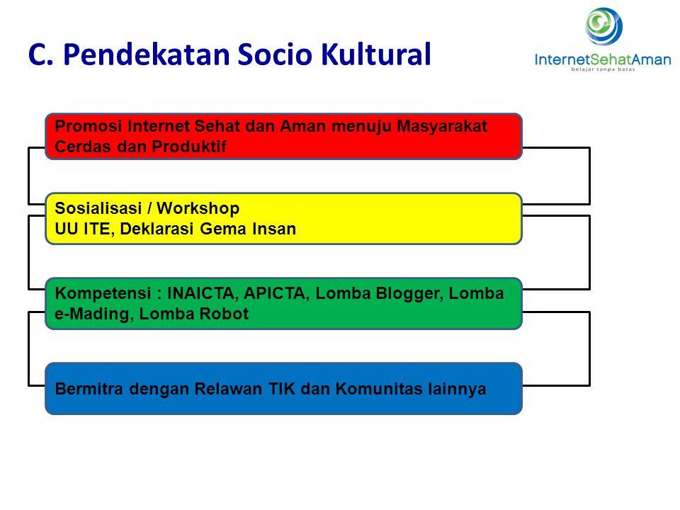 C. Pendekatan Socio Kultural Promosi Internet Sehat dan Aman menuju Masyarakat Cerdas dan Produktif Sosialisasi / Workshop UU ITE, Deklarasi Gema Insa