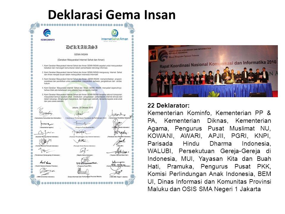 22 Deklarator: Kementerian Kominfo, Kementerian PP & PA, Kementerian Diknas, Kementerian Agama, Pengurus Pusat Muslimat NU, KOWANI, AWARI, APJII, PGRI