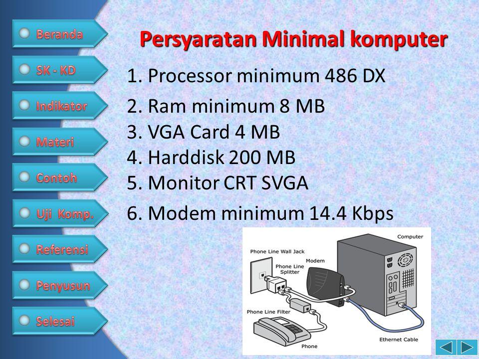 Persyaratan Minimal komputer 1. Processor minimum 486 DX 2. Ram minimum 8 MB 3. VGA Card 4 MB 4. Harddisk 200 MB 5. Monitor CRT SVGA 6. Modem minimum