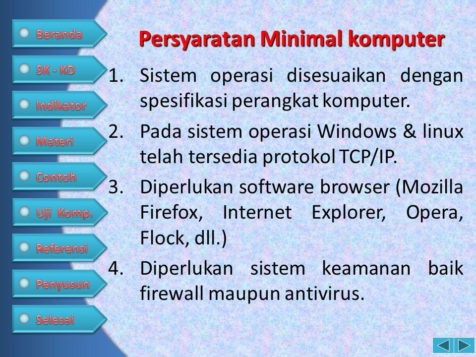 Persyaratan Minimal komputer 1.Sistem operasi disesuaikan dengan spesifikasi perangkat komputer. 2.Pada sistem operasi Windows & linux telah tersedia