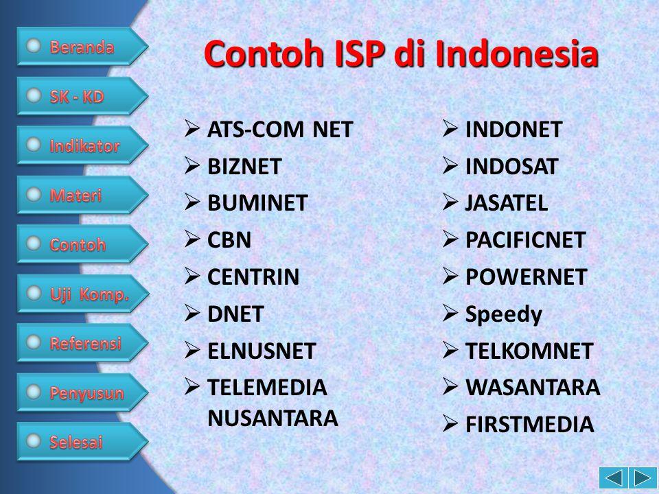 Contoh ISP di Indonesia  ATS-COM NET  BIZNET  BUMINET  CBN  CENTRIN  DNET  ELNUSNET  TELEMEDIA NUSANTARA  INDONET  INDOSAT  JASATEL  PACIF