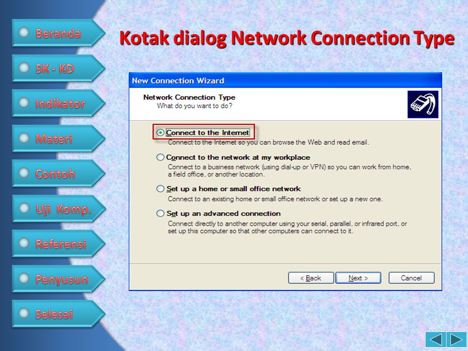 Kotak dialog Network Connection Type