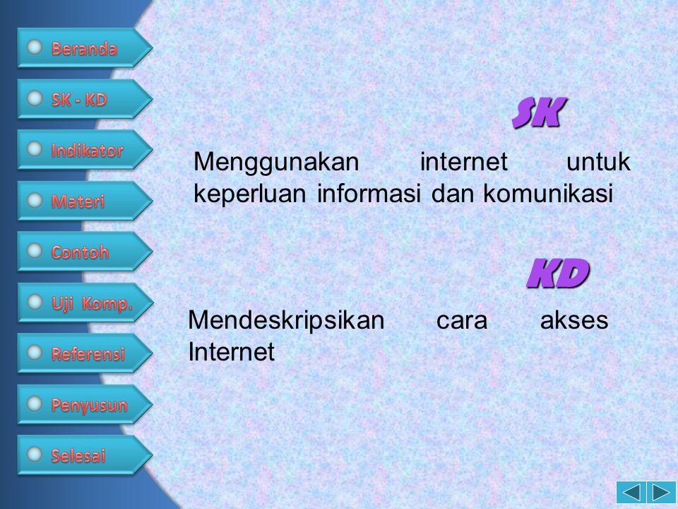 SK Menggunakan internet untuk keperluan informasi dan komunikasi KD Mendeskripsikan cara akses Internet