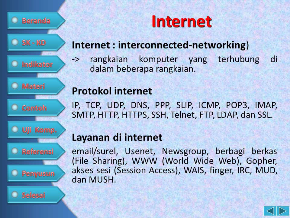 Internet Internet : interconnected-networking) ->rangkaian komputer yang terhubung di dalam beberapa rangkaian. Protokol internet IP, TCP, UDP, DNS, P